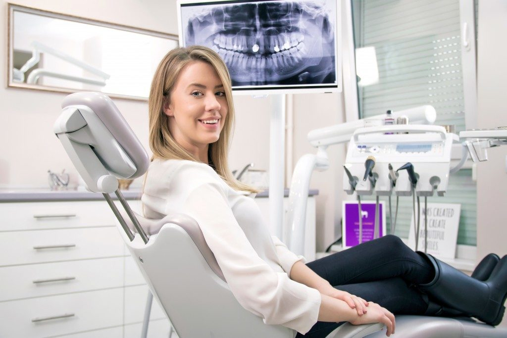 Woman on dental chair