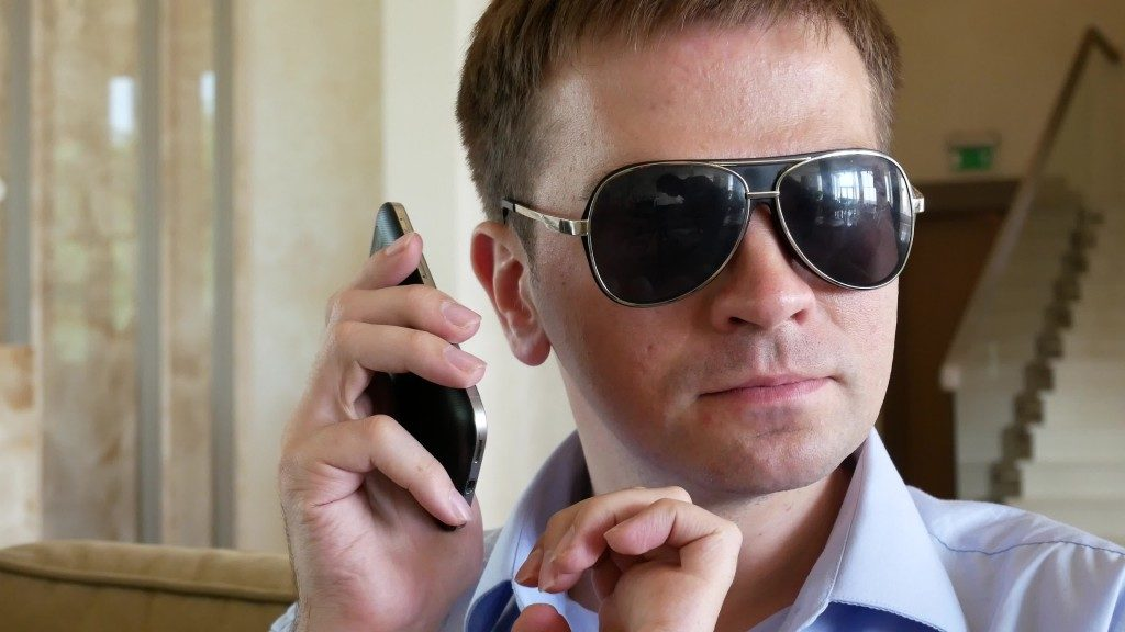 Visually Impaired Man Using Phone