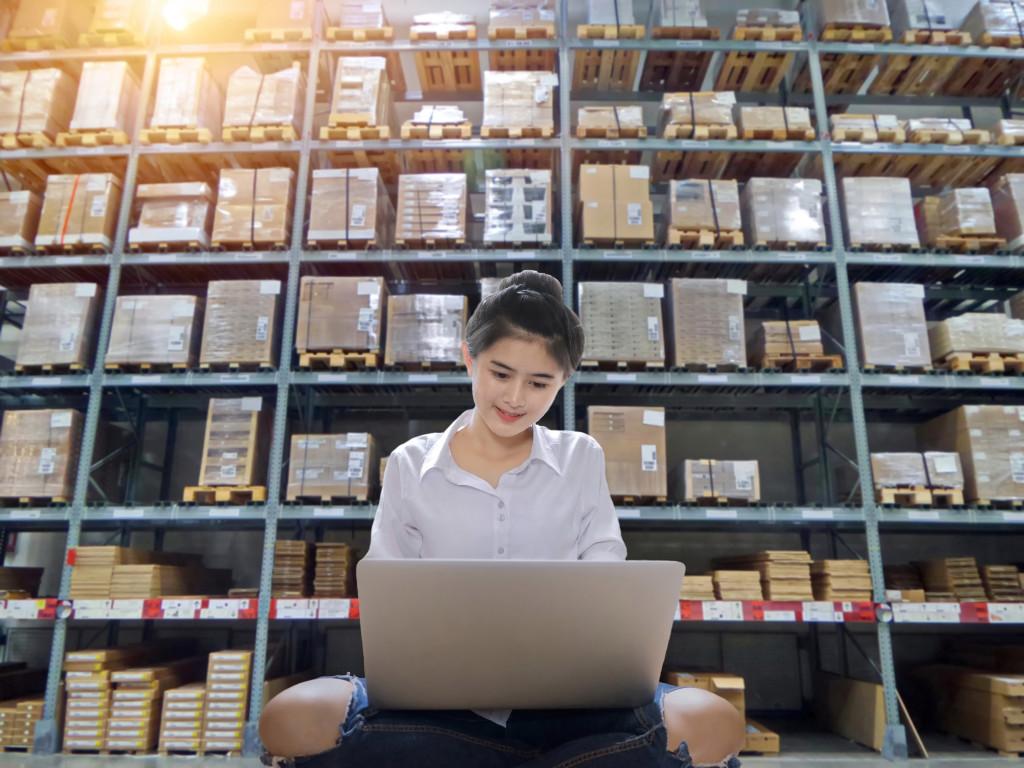 woman at a warehouse
